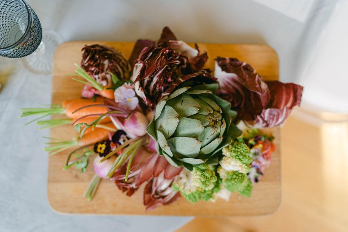 fresh vegetables for wedding table décor