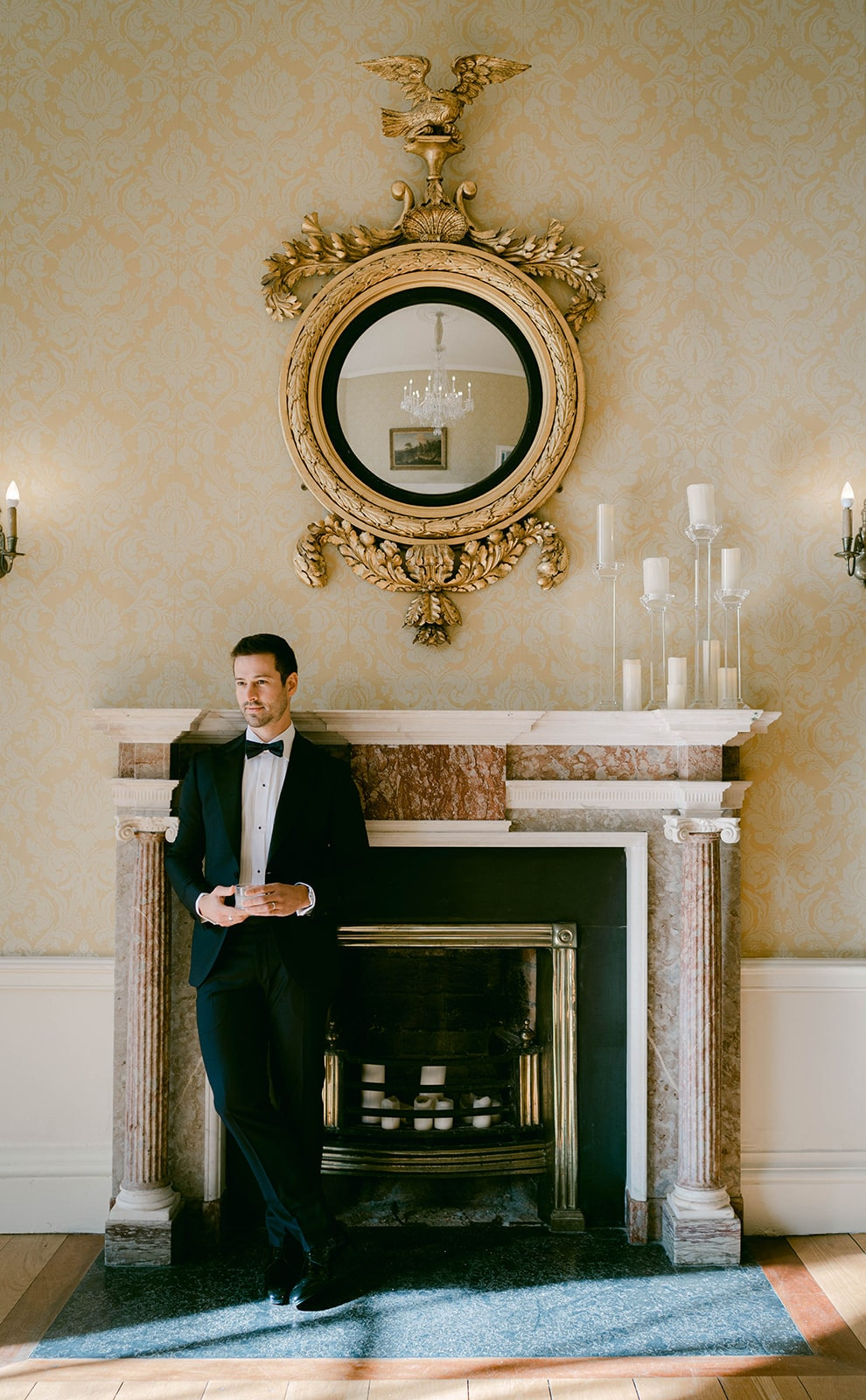 Museum of Literature Ireland wedding groom in black tux