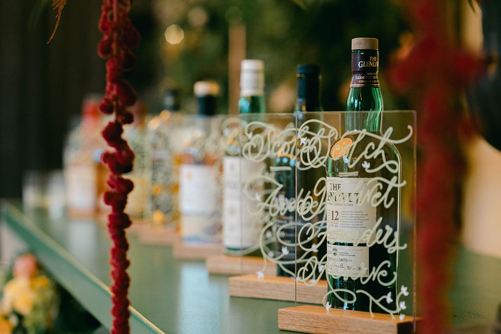 Irish whiskey bar for St Patricks Day wedding