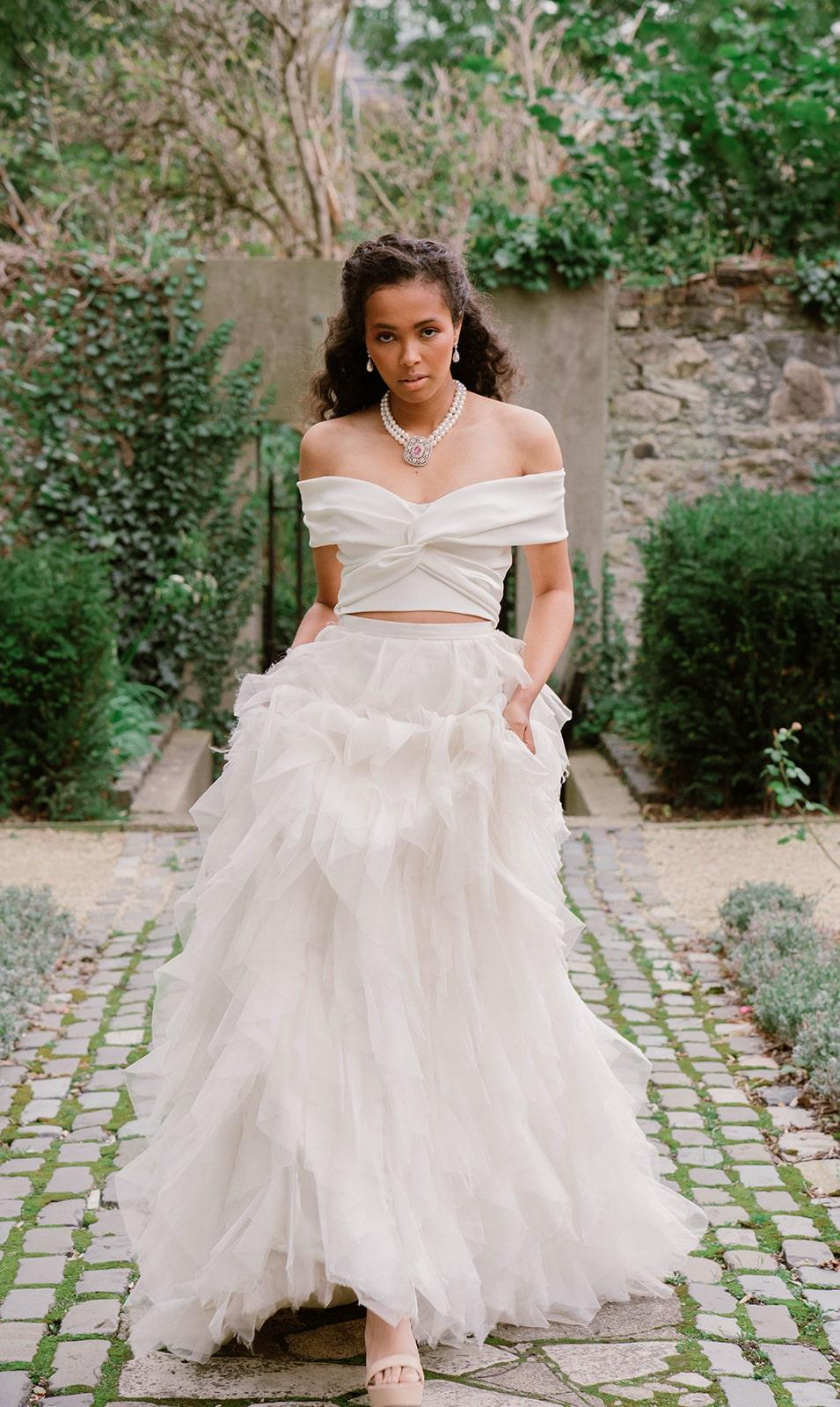 Halfpenny London ruffled bridal skirt and crop top