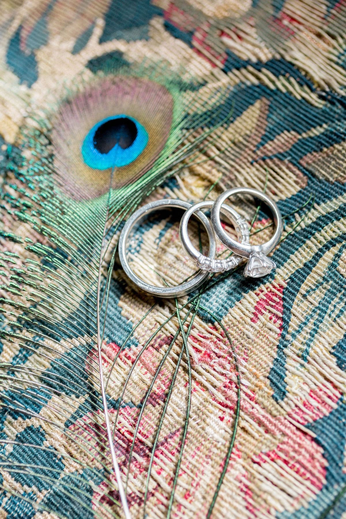 Gloster House peacock wedding inspiration rings