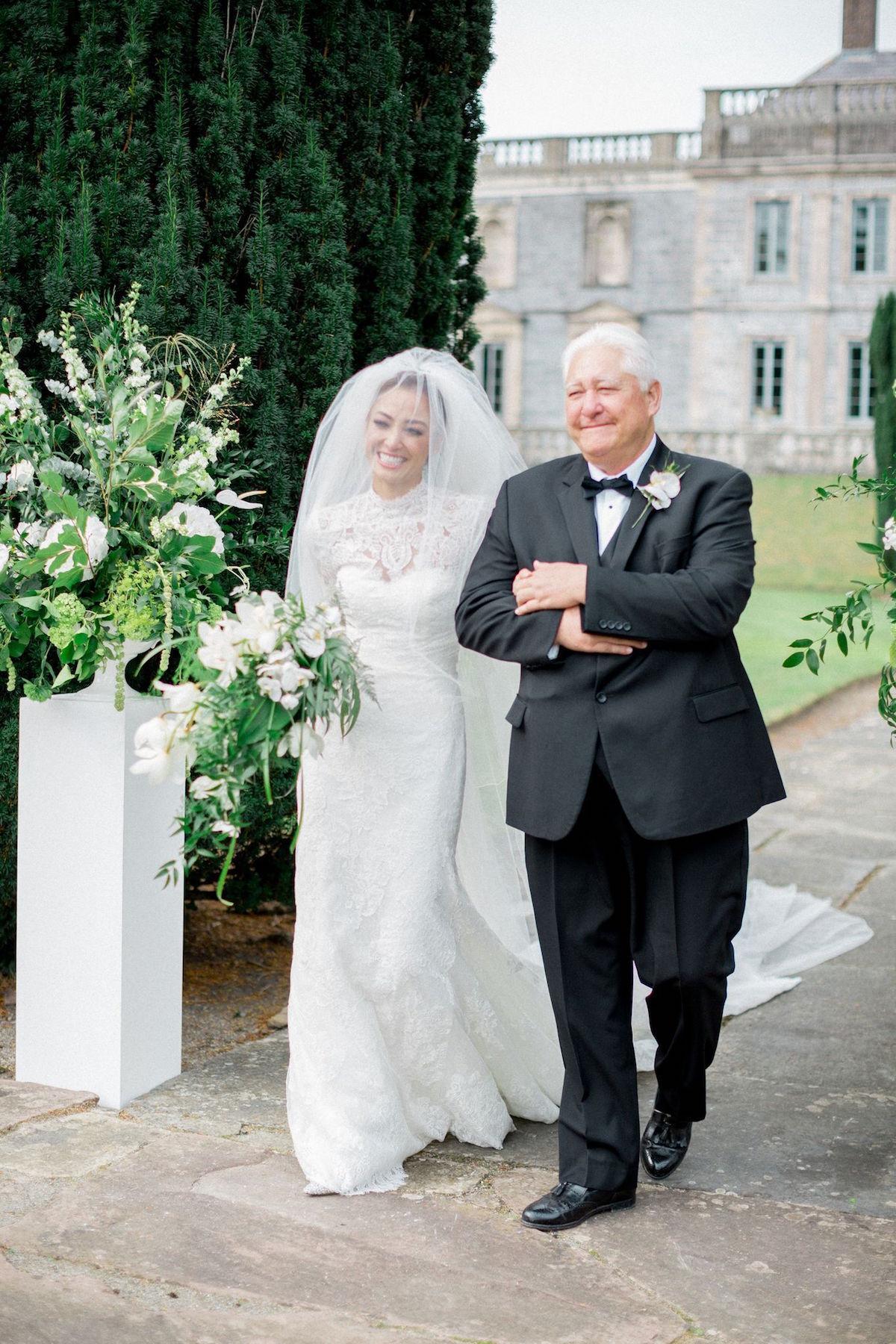 Gloster House garden wedding ceremony bride's entrance