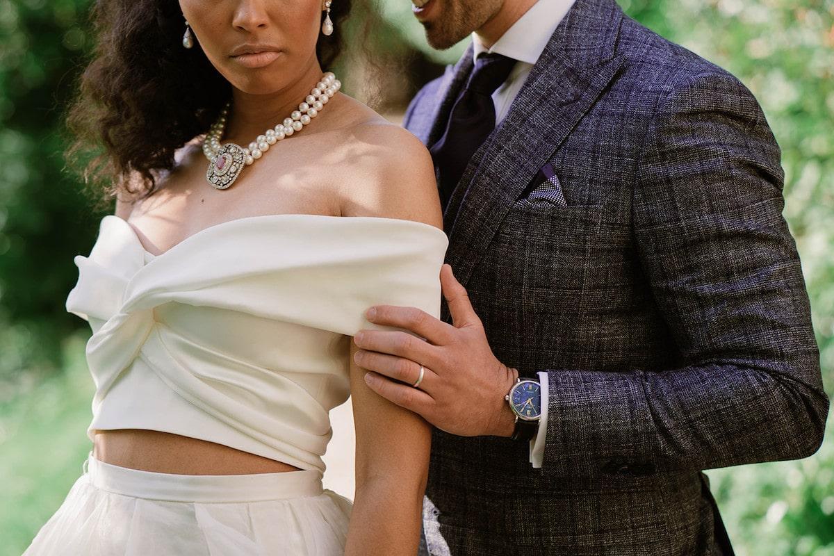 garden wedding bride and groom