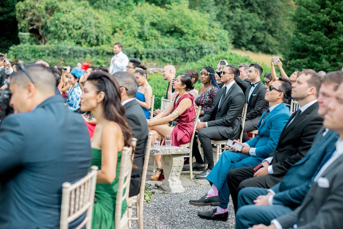 Gloster House garden wedding ceremony guests