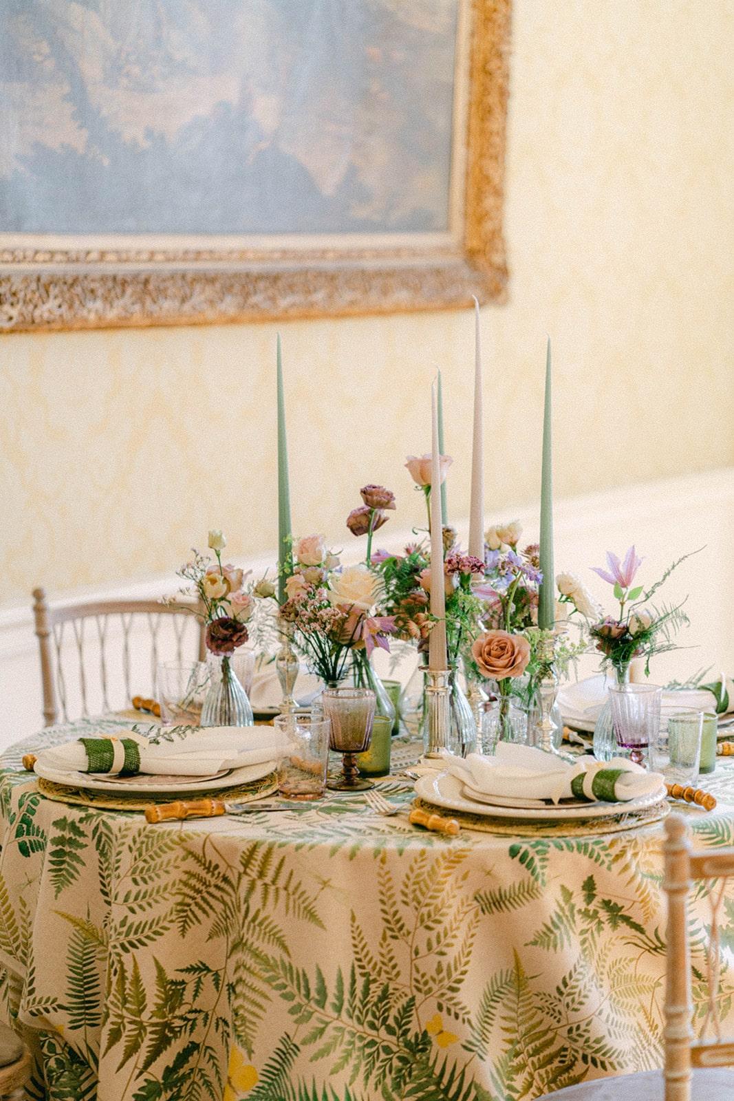 fern print linens for garden wedding