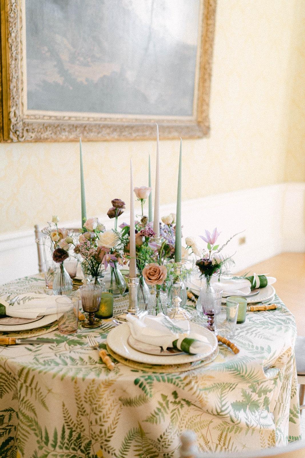 table décor for whimsical garden wedding