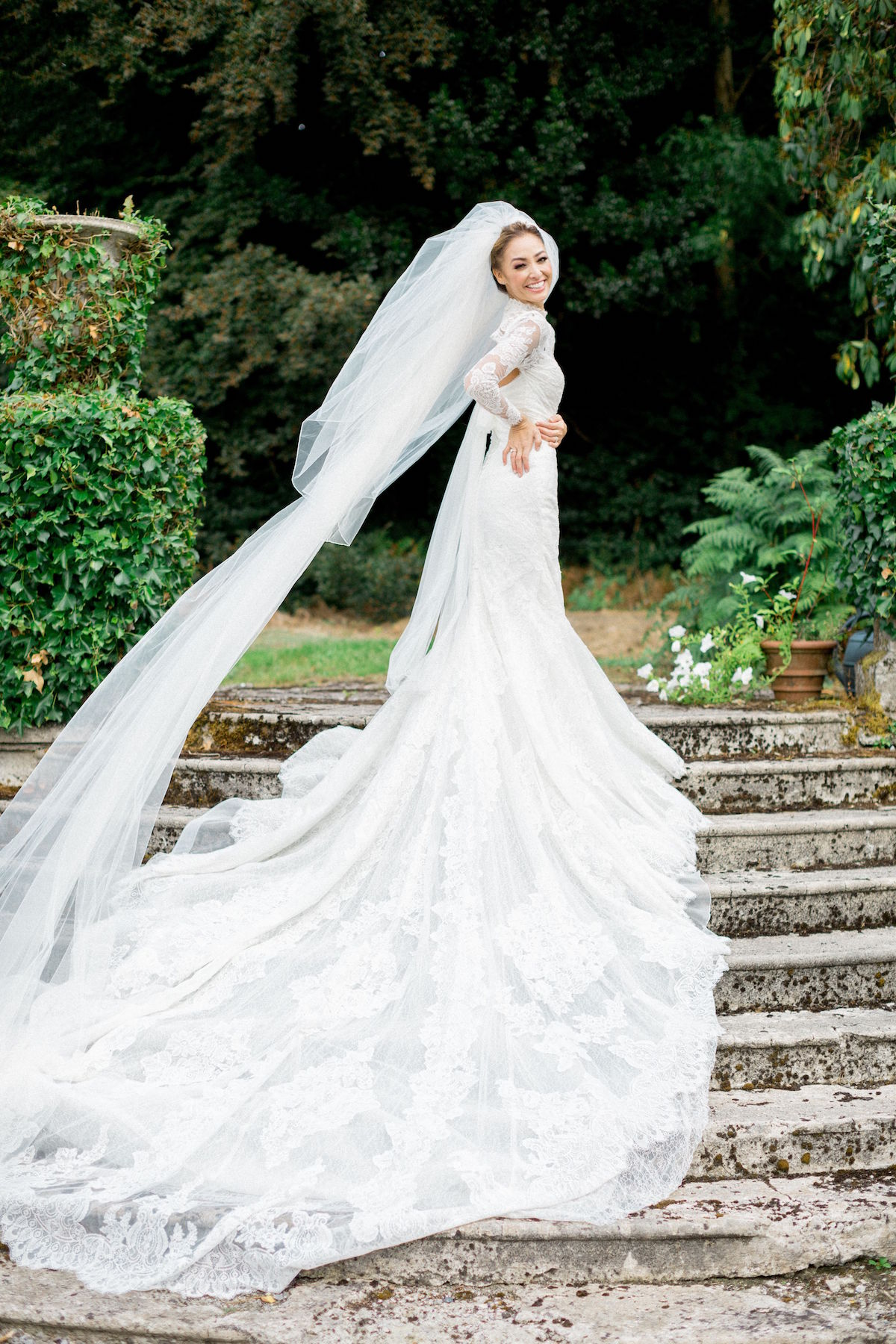 wedding dress with cathedral length train