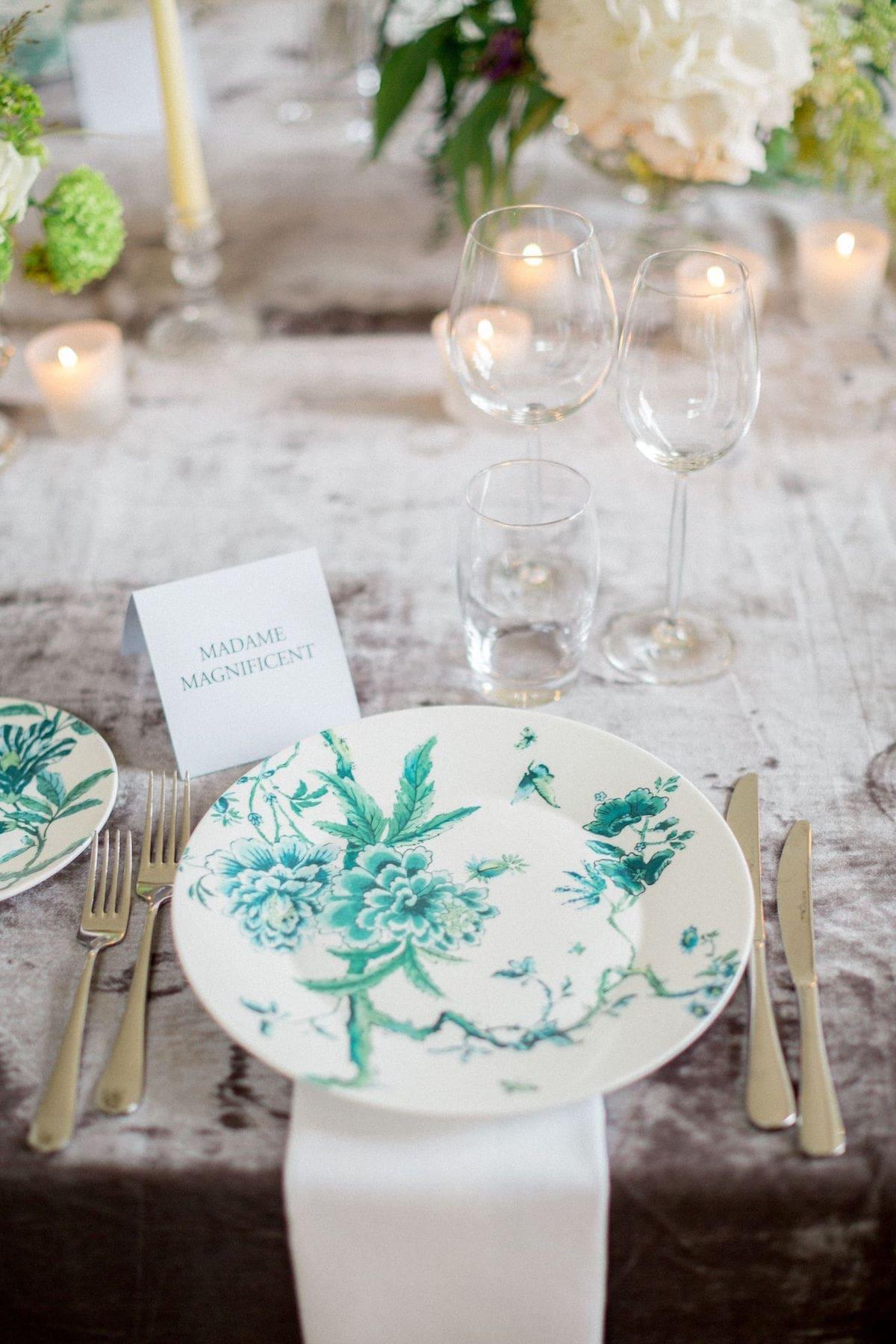 emerald pattern china for Irish destination wedding