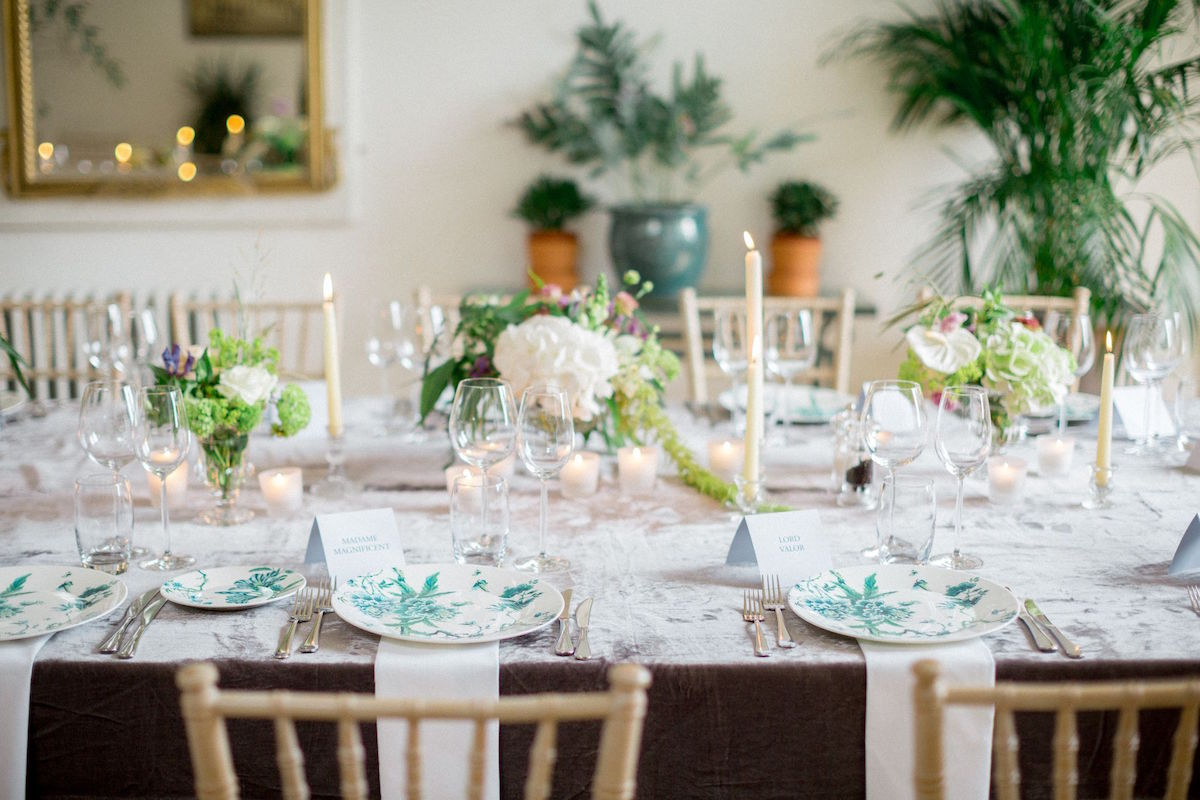 Gloster House wedding reception table décor