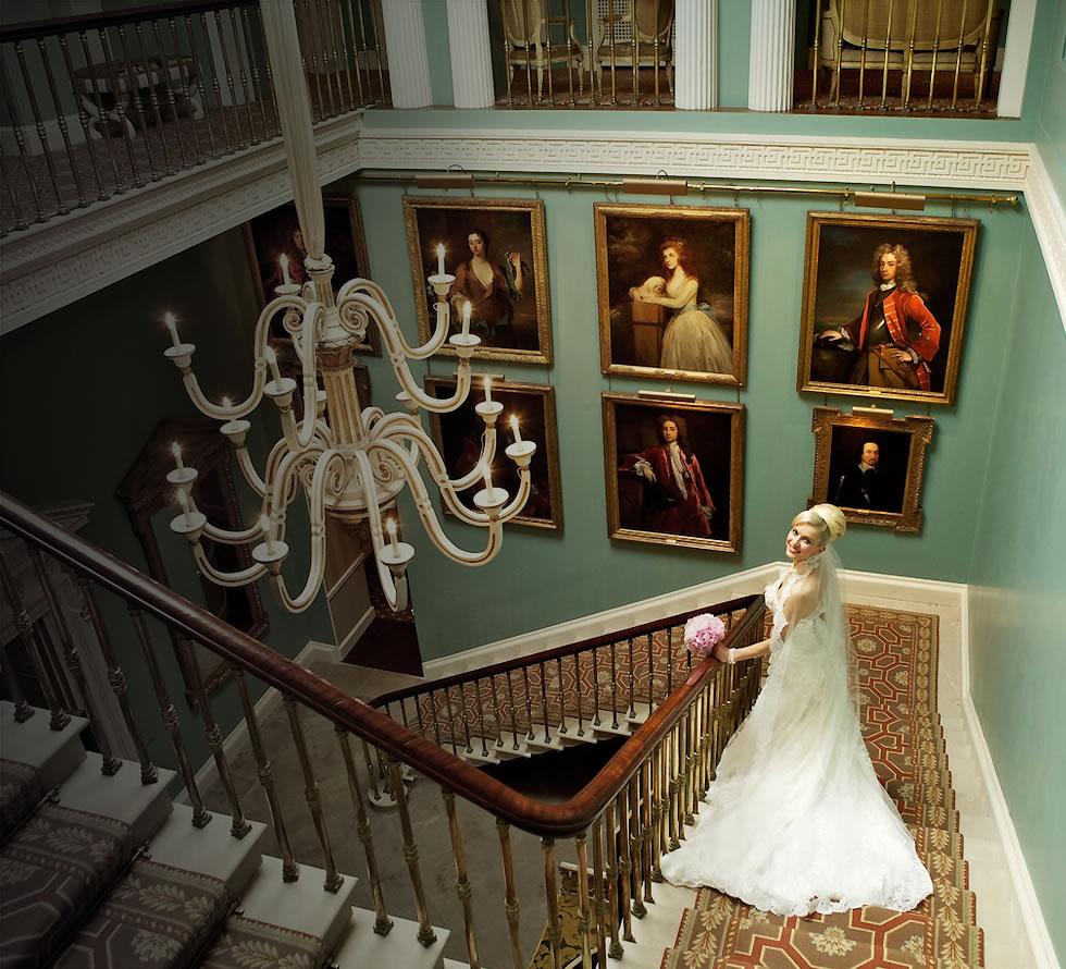 Ballyfin wedding venue bride on staircase