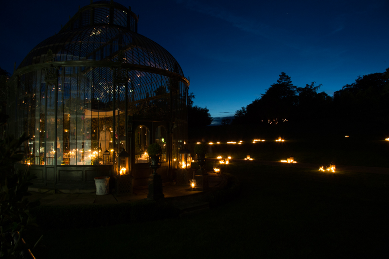 Ballyfin conservatory by candlelight