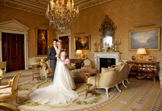 Ballyfin wedding venue gold drawing room